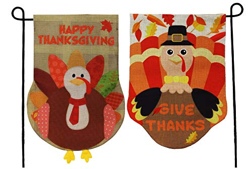 JOYIN Two Thanksgiving Fall Turkey Burlap Garden, House Flags Decorations Double-Sided for Happy Give Thanks Party Favor, Autumn Supply, Outdoor Design 12.5