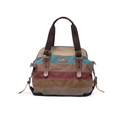 Women Hobo Multi-Color Shoulder Bags Tote Large Capacity Canvas Bags by JSCY