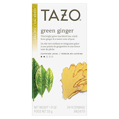 TazoGreen Ginger Enveloped Hot Tea Bags Non GMO, 24 count, Pack of 6