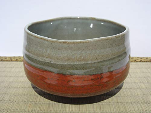 Matcha bowl 4.72'' dia. Japanese tea cup for tea ceremony, Authentic Mino Ware Pottery, Tetsu-aka Chawan M59119 from Japan