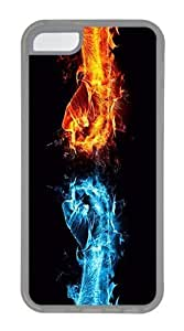 Blue And Red Flame Fist Custom Apple iPhone 5C Case TPU Case Cover Compatible with iPhone 5C Transparent