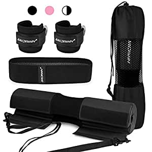 bridawn Barbell Pad Set for Squats Hip Thrusts Upgraded Bar Neck Pads Workout Foam Weightlifting Cushion with 2 Gym Ankle Straps Hip Resistance Band Fits Standard Olympics Bars with a Carry Bag Black