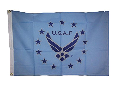 2x3 U.S.A.F. USAF United States Airforce Air Force Wings Blue Stars Flag 2'x3' House Banner Double Stitched Metal Eyelets For Hoisting Fade Resistant Premium Quality (Star Eyelet Multi)