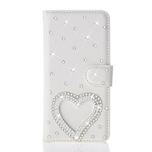 HTC Desire 610 Case, iCaseMini® PU Leather Purse Case w/Card ID Holder White Luxury 3D Fashion Handmade Glitter Bling Diamond Pearl Flip Crystal Wallet Card Pouch Stand Cover-Silver Heart