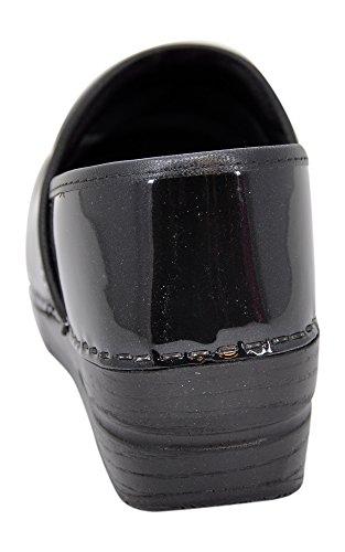 Shimmer Women's Professional Patent Sanita Clog Black 0dfXwnqHx