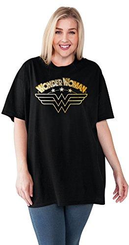 DC Comics Wonder Woman Plus Size T-Shirt Logo Gold Foil Print Black (Wonder Woman T Shirt Plus Size)
