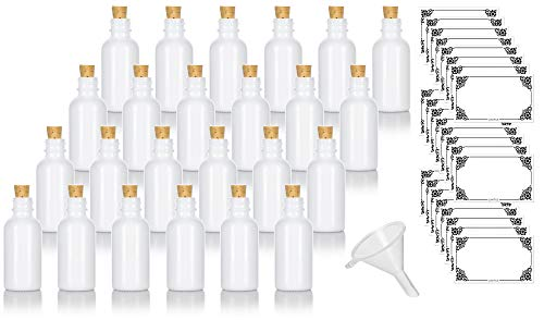 1 oz Opal White Glass Boston Round Bottle with Natural Cork Stopper Closure (24 pack) + Funnel and Labels for Aromatherapy, Perfect for Beauty, Kitchen, and Lab Uses, Food Grade, ()