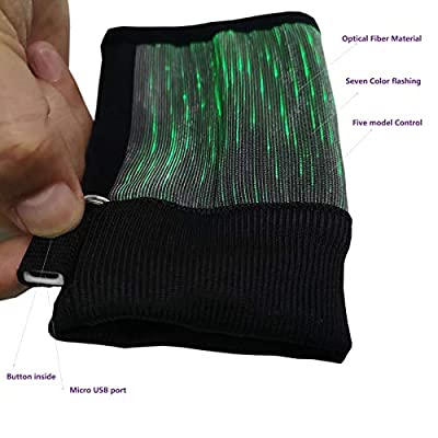 GALEXBIT Mittens Light Up Fiber Optic Flashing Glow with 7 Color Selection & 11 Flashing Mode Gloves Finger Lighting Gloves for Dancing Birthday Party: Clothing