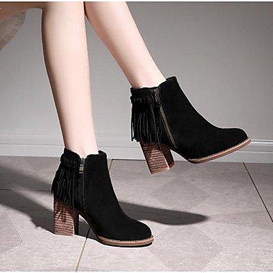 7 Chaussures ggx Talons Lvyuan Noir Gros À Cuir Black 5 9 Escarpin Talon Automne Cm Kaki Femme Hiver 5 Décontracté Basique qZAAdxEI