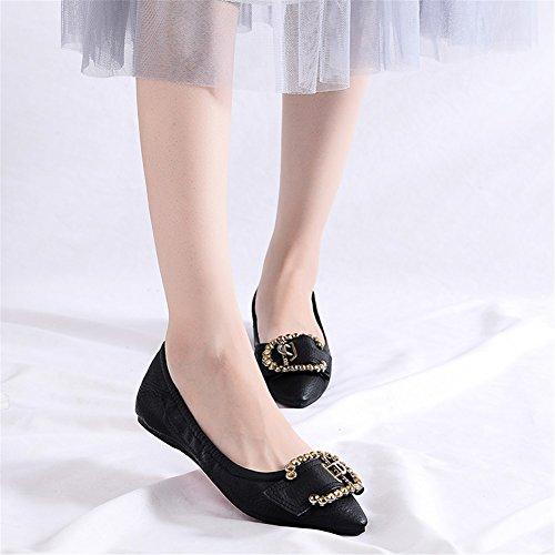 para Mocasines Suave Fondo de Zapatos Microfibra Do Primavera Caída de de y Casual Ons Asakuchi Punta Slip Estrecha Gran Plano Tamaño Mujer Tacón Fqwqx0Z