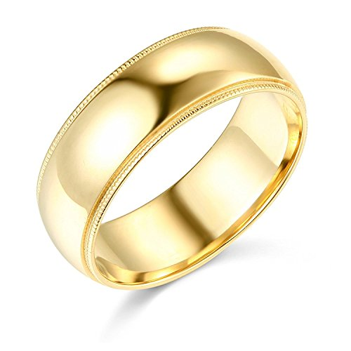7mm Plain Band Ring (14k Yellow Gold Plain Milgrain Dome Wedding Heavy Ring Regular Fit Band Polished Finish, 7 mm, Size 10)