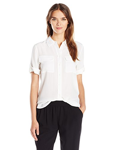 Equipment Women's Short Sleeve Slim Signature, Bright White, Medium by Equipment (Image #1)'