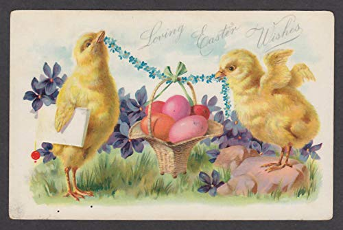 Loving Easter Wishes chicks & basket of colorful eggs embossed postcard 1908