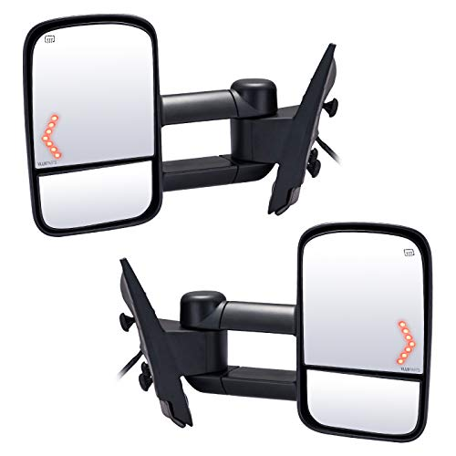(Chevy Tow Mirror Pickup Towing Mirrors Power Heated Telescoping Manual Folding LED Arrow Turn Signal Light Side Rear View Pair for Chevy Silverado New Body Style Tahoe GMC Sierra Yukon)