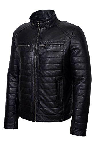 Mens Nuovo 2448 Celebrity Fashion Black Napa Giacca rivestita in pelle di pelle di vera pelle rossa