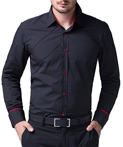 [PAUL JONES Mens Slim Fit Long Sleeves Casual Shirts CL5248-49 (Large, 1053-Black)] (60s Fashion Men)