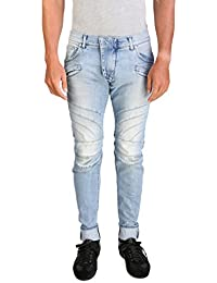 "<span class=""a-offscreen"">[Sponsored]</span>Men's Skinny Fit Biker Denim Jeans Pants Light Blue"