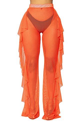 Willow Dance Women's Perspective Sheer Mesh Ruffle Pants Swimsuit Bikini Bottom Cover up Pants (Orange A, S)