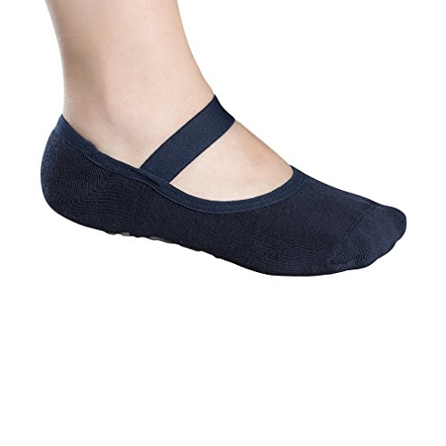 Lupo Women's Butterfly Terry No Slip Yoga Barre House Grip Socks, Large Blue