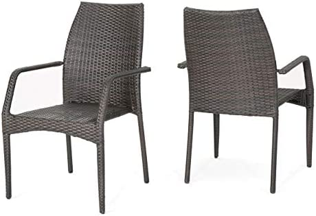 Christopher Knight Home Bridget Outdoor Wicker Stacking Patio Chairs, 2-Pcs Set, Multibrown