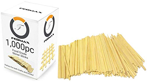 Coffee Stirrer Sticks, 1000pc, 5.5 Inches, 100% White Birch Wood Great for Mixing Coffee and other Drinks and Beverages, FDA Approved and Made in the USA, by Fedmax. -