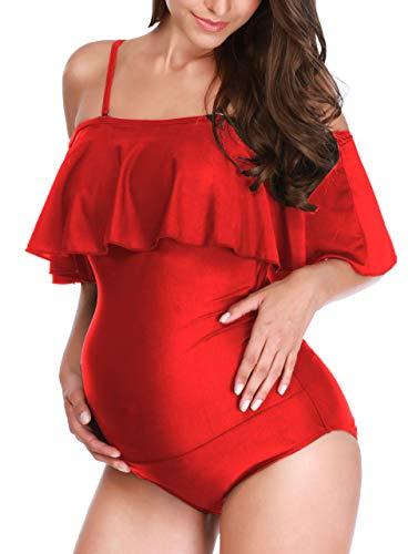 Maternity Floral Swimsuit One Piece Off Shoulder Flounced Ruffled Pregnancy Swimwear Maternity Bikini (Red, L)