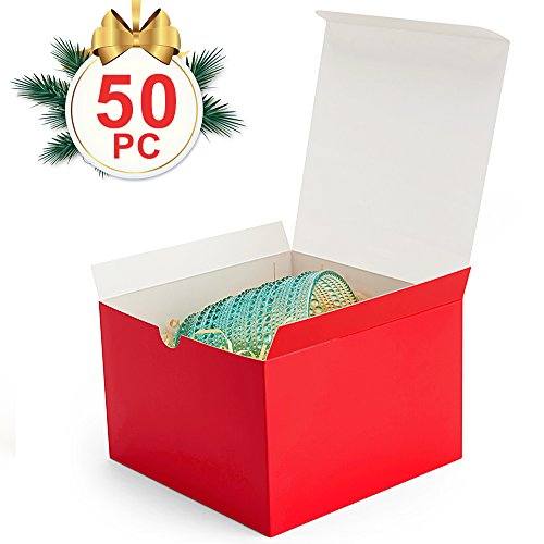 MESHA Gift Boxes 50 Pack 6x6x4 Inches, Red Paper Gift Boxes with Lids for Gifts, Crafting, Cupcake Boxes (Red Gift Boxes)