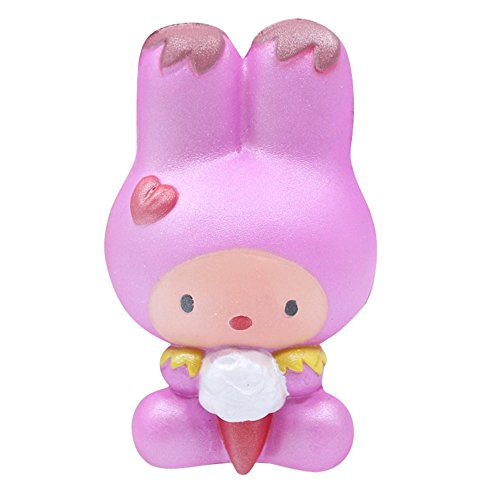 Mikilon Squishy Toys Jumbo Animal Squishies Toys Squeeze Kawaii Squishy Rabbit Stress Reliever Anxiety Toys Rainbow Rabbit Eating Ice Cream Large Squishy for Kids & Adult (Pink) -