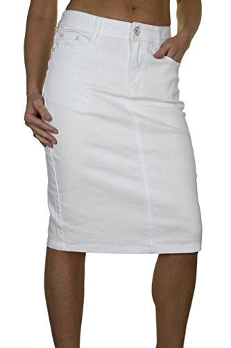 icecoolfashion Ice (2515-2) Plus Size Stretch Textured Denim Jeans Skirt White (Next Denim Skirt)