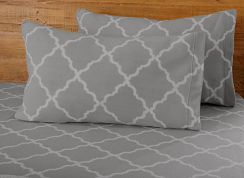Super Soft Extra Plush Polar Fleece Sheet Set. Cozy, Warm, Durable, Smooth, Breathable Winter Sheets with Cloud Lattice Pattern. Dara Collection By Great Bay Home Brand. (King, Paloma Grey) (Sheet Fleece King Set Polar)