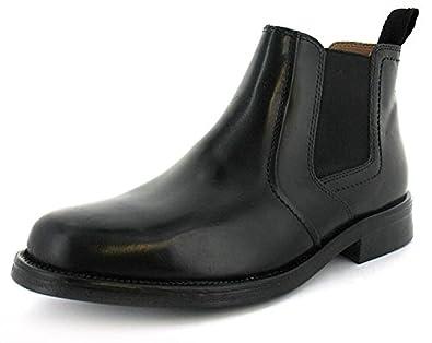 Mens Black Leather Chelsea Slip On Boots - Black - UK SIZE 12 ...