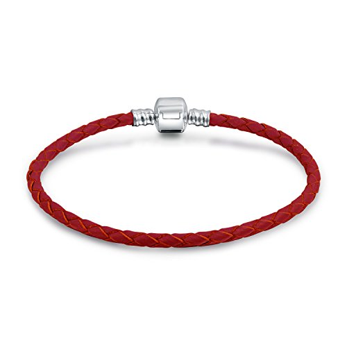 Red Weave Braided Genuine Leather Starter Charm Fits European Beads Bracelet For Women 925 Sterling Silver Barrel Clasp ()