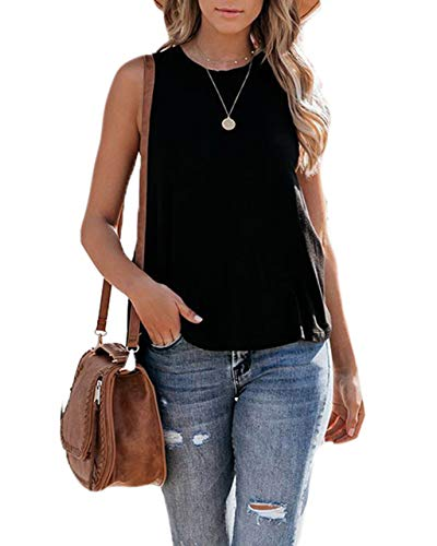 Eanklosco Womens Summer Sleeveless Trendy Basic Tank Tops Round Neck Casual Loose Tunic(Black,XXL)