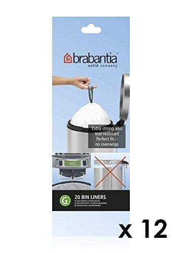 Rouleau de 20 sacs poubelle 23/30 l Brabantia Blanc code G (Lot de 11 + 1 offert)