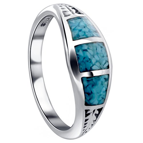 Sterling Silver Turquoise Inlay Ring (Gem Avenue 925 Sterling Silver Turquoise Gemstone inlay Southwestern Style Ring)