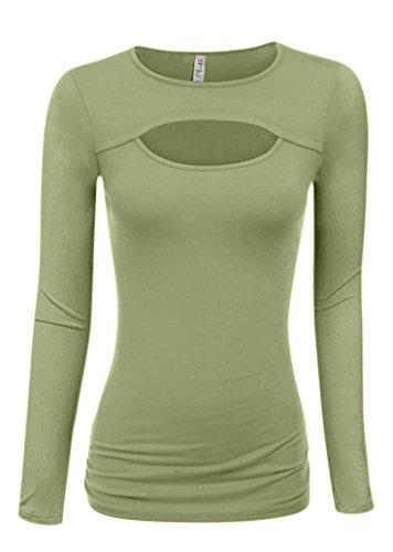 Sage Green Long Sleeve Top Regular and Plus Size Trendy Sexy Shirt (Size Medium, Sage Long Sleeve)