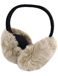 CLARA Unisex Winter Warm Faux Fur Earmuffs Foldable Adjustable Plush Fluffy Ear Warmer