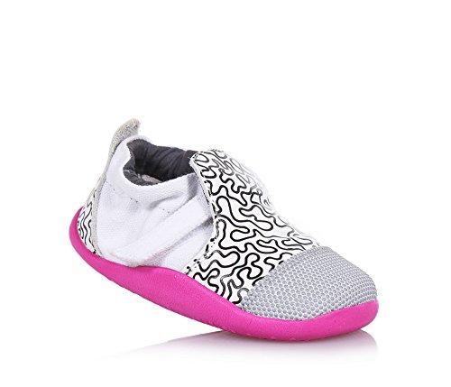 BOBUX - Weißer und schwarzer Step Up Xplorer City Schuh, aus Leder und Stoff, äußerst flexibel, Baby Mädchen