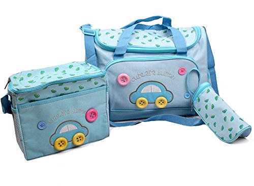 4pcs Car Cute as a Button Embroidery Baby Nappy Changing Bag (Dark Blue) Global Store
