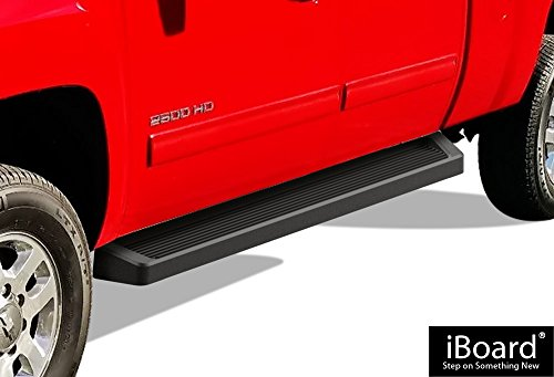 APS iBoard Black Running Boards Style Custom Fit 2007-2018 Chevy Silverado/GMC Sierra Crew Cab & 2019 2500 HD / 3500 HD Crew Cab (Excl. 07 Classic Models) (Nerf Bars | Side Steps | Side Bars)