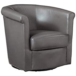 Living Room Grafton Madison Faux Leather Swivel Barrel Chair, One Size, Grey
