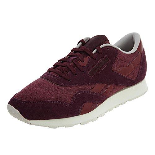 Reebok Men's Cl Nylon J Fashion Sneaker, Merlot/Maroon/Sand Stone, 10 M US