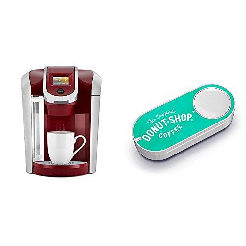 Keurig K475 Single Serve Programmable K- Cup Pod Coffee Maker, Vintage Red & Original Donut Shop Dash Button by