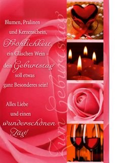 Karte Geburtstag Motiv Herz Kerzen Blume Wein Spruch Hintergrund Rot