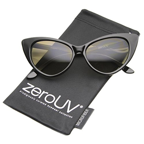 zeroUV - Super Cateyes Vintage Inspired Fashion Mod Chic High Pointed Cat-Eye Sunglasses (Black / Gradient) ()