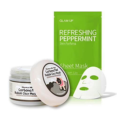 Elizavecca Milky Piggy Carbonated Bubble Clay Mask – Pore Cleansing & Sheet Mask by Glam Up BTS Refreshing Peppermint – Calming, Refreshing, Purifying, pH Balancing Daily Skin Therapy – SET