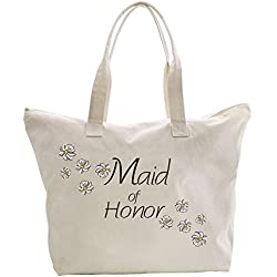 ElegantPark Maid of Honor Tote Bag Daisy for Wedding Bridesmaid Gifts Zip Canvas Cotton