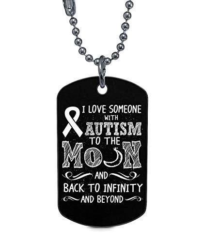 CARONECK I Love Someone with Autism Dog Tag, Autism Awareness Necklaces (Dog Tag Necklaces - Black) ()