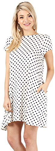 Casual T Shirt Dress for Women Flowy Tunic Dress with Pockets Reg and Plus Size - USA (Size XXXX-Large, Ivory/Navy Polka Dot-Shrt Slve)