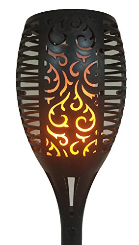 M&M Trading LED Tiki Torch Real Flame Look Outdoor Solar Auto On Every Day at Dark. Make Your Yard Look Like A Tropical Paradise (Swirl Design)